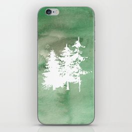 Hand painted forest green white watercolor pine trees iPhone Skin