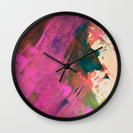 Expand [1]: a colorful, minimal abstract piece in pinks, green, and blue Wall Clock