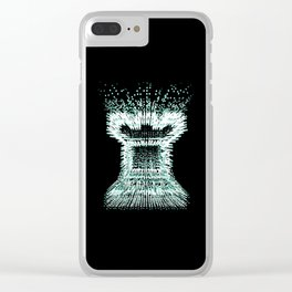 Pointillist Rook in Green Clear iPhone Case