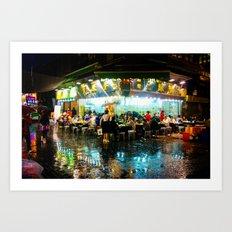 Hong Kong Cafe Blue Art Print