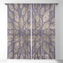 Flower Mandala - Dot Art - Purple and Gold Sheer Curtain
