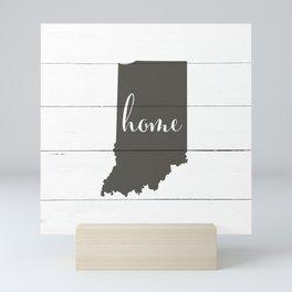 Indiana is Home - Charcoal on White Wood Mini Art Print