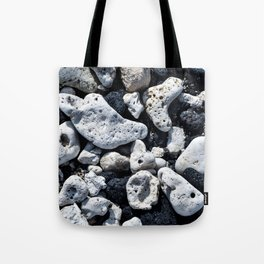 Black and White Rocks Mixed with Lava Rocks in Hawaii Tote Bag