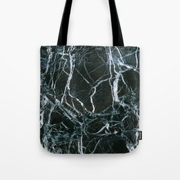 Black Marble With White Ribbons Tote Bag