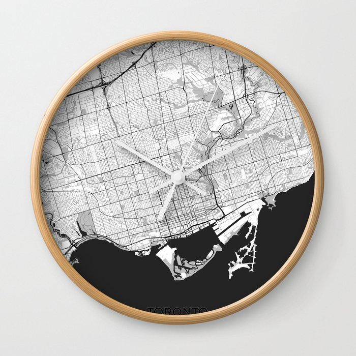Toronto Map Gray Wall Clock By Hubertroguski Society6
