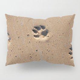 Dog paw prints on a sandy beach Pillow Sham