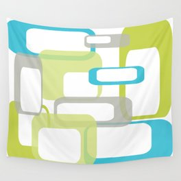Mid-Century Modern Rectangle Design Blue Green and Gray Wall Tapestry