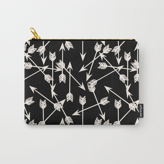 Arrows - Black and White by Andrea Lauren Carry-All Pouch
