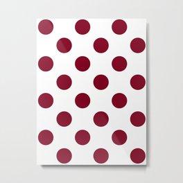 Large Polka Dots - Burgundy Red on White Metal Print