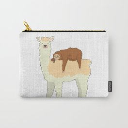 Cute Llama with a Sleeping Sloth Gift Carry-All Pouch