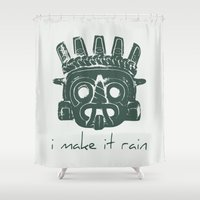 supreme Shower Curtains featuring Tlaloc, Supreme God Of The Rains by Silvio Ledbetter