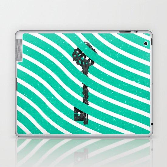 Teal White Zig Zag Stripes Pattern Black Wood Key Laptop & iPad Skin