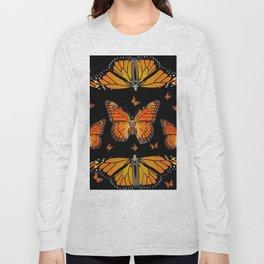 ABSTRACT ORANGE MONARCH BUTTERFLIES BLACK  PATTERNS Long Sleeve T-shirt