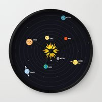 solar system Wall Clocks featuring Solar System by Sara Showalter