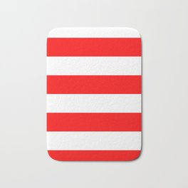 Wide Horizontal Stripes - White and Red Bath Mat