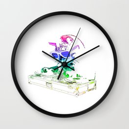 Rainbow DJ Kitty Wall Clock