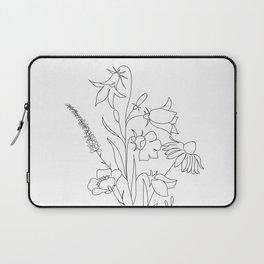 Small Wildflowers Minimalist Line Art Laptop Sleeve