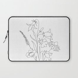 Small Wildflowers Minimalist Line Art Laptop Sleeve