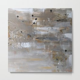 Silver and Gold Abstract Metal Print