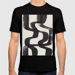Mid Century Modern Minimalist Abstract Art Brush Strokes Black & White Ink Art Ripple Lines T-shirt