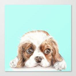 Cavalier King Charles Spaniel Dog Watercolor Pet Portrait Canvas Print