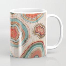 Primitive Coral Teal Geode Agate Stones Pattern Distressed Rose Beige Background Coffee Mug