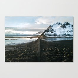 Mountain beach road in Iceland - Landscape Photography Canvas Print