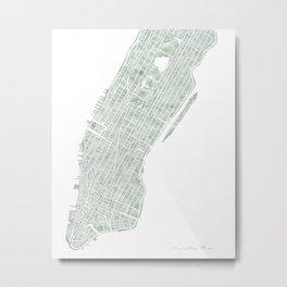 Map Manhattan NYC watercolor map Metal Print