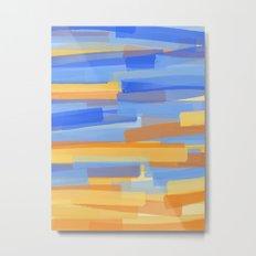 Orange and Blue Stripes Metal Print