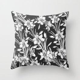 Elegant flowers narcissus Throw Pillow