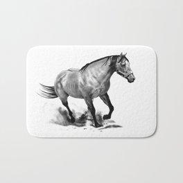 Horse Running, Pencil Drawing, Equine Art Bath Mat