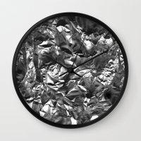 heavy metal Wall Clocks featuring Heavy Metal Crush by BruceStanfieldArtist.DarkSide