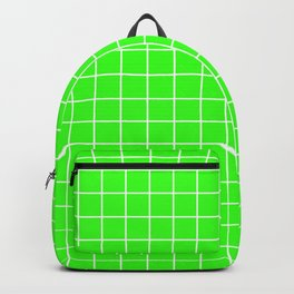 Neon green - green color - White Lines Grid Pattern Backpack