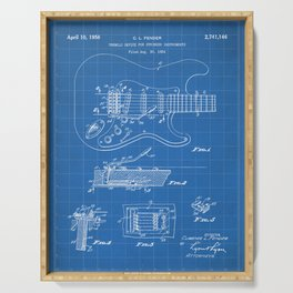Guitar Tremelo Patent - Guitarist Art - Blueprint Serving Tray