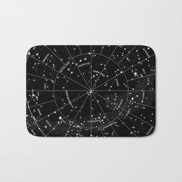Constellation Map - Black & White Bath Mat