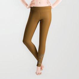 Brown Cat Illustration Leggings