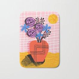Just Kidding - memphis retro 80s throwback modern still life abstract floral flower vase Bath Mat