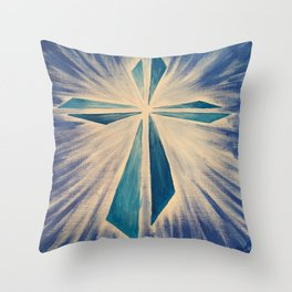 Radiant Blue Cross Throw Pillow