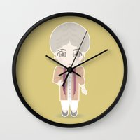 golden girls Wall Clocks featuring Girls in their Golden Years - Dorothy by Ricky Kwong