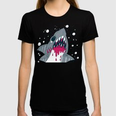 SHARK ATTACK Black Womens Fitted Tee LARGE