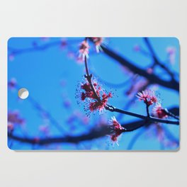 Feathery Red Blossoms Cutting Board