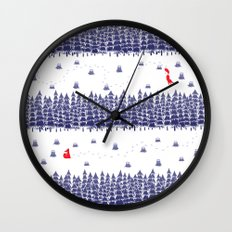 Winter foxes Wall Clock