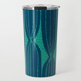 Striped Cactus pattern in navy and green Travel Mug