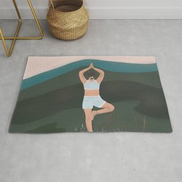 Meditation in the mountains  Rug