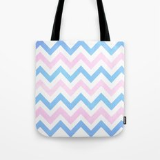 Blue Pink Textured Vintage Chevron Tote Bag