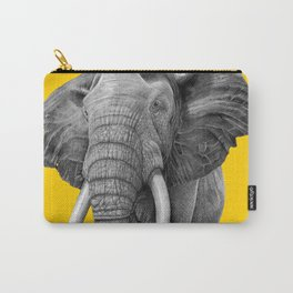 Bull elephant - Drawing In Pencil On Vintage Yellow Carry-All Pouch