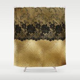 Black luxury lace on gold glitter effect metal- Elegant design Shower Curtain