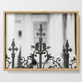 New Orleans Marigny Black and White Fence Serving Tray