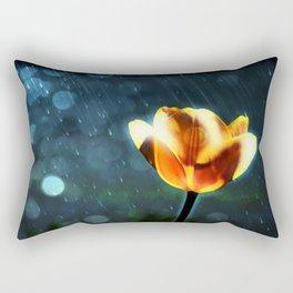 Yellow Tulip in the Rain Rectangular Pillow