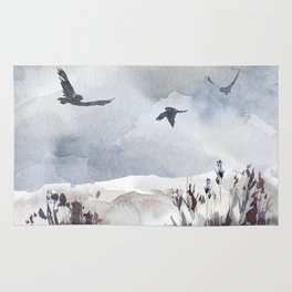 Soaring Above Sandy Beaches Against Stormy Skies Rug